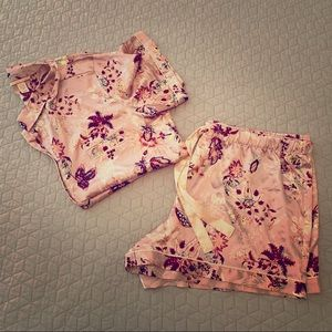 VS Floral Satin Pajama Short Set